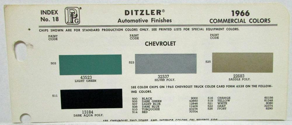 1966 Chevrolet Truck Color Paint Chips by Ditzler Pittsburgh Plate Glass Co