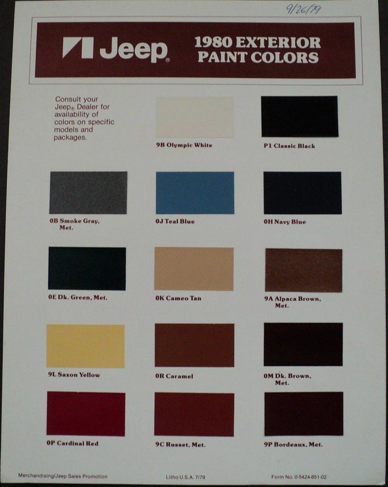 Jeep cj7 original paint colors paint color ideas Paint color tips