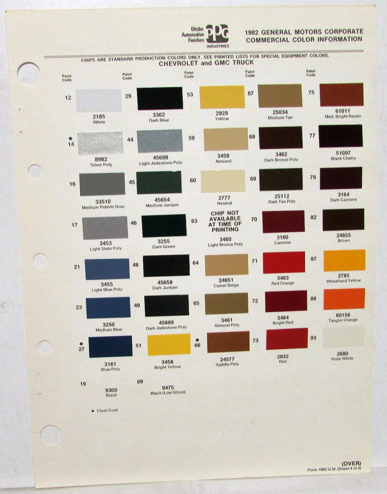 1982 Chevrolet and GMC Truck Color Paint Chips by PPG