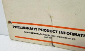 1982 Chevrolet Truck Preliminary Product Info for Dealers Salesman CONFIDENTIAL