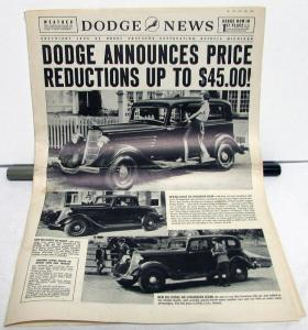 1934 Dodge News Magazine Announces Price Reductions Up to 45 Dollars