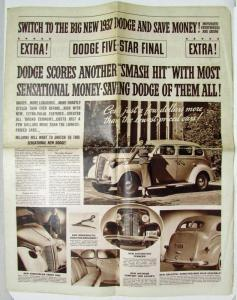 1937 Dodge Five-Star Final Extra Newsprint Sales Brochure