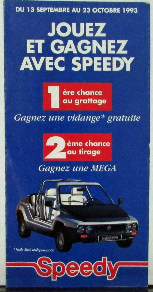 1993 1994 Speedy Micro MEGA Car Sales Folder With New Car Entry Form FRENCH Text