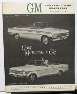1961 General Motors Stock Shareholders Third Quarterly With 1962 Models Shown