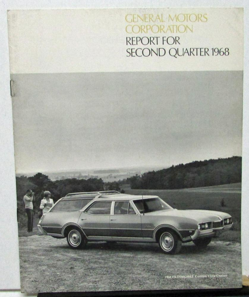 1968 Second Quarter General Motors Stock Shareholders Quarterly Financial Report