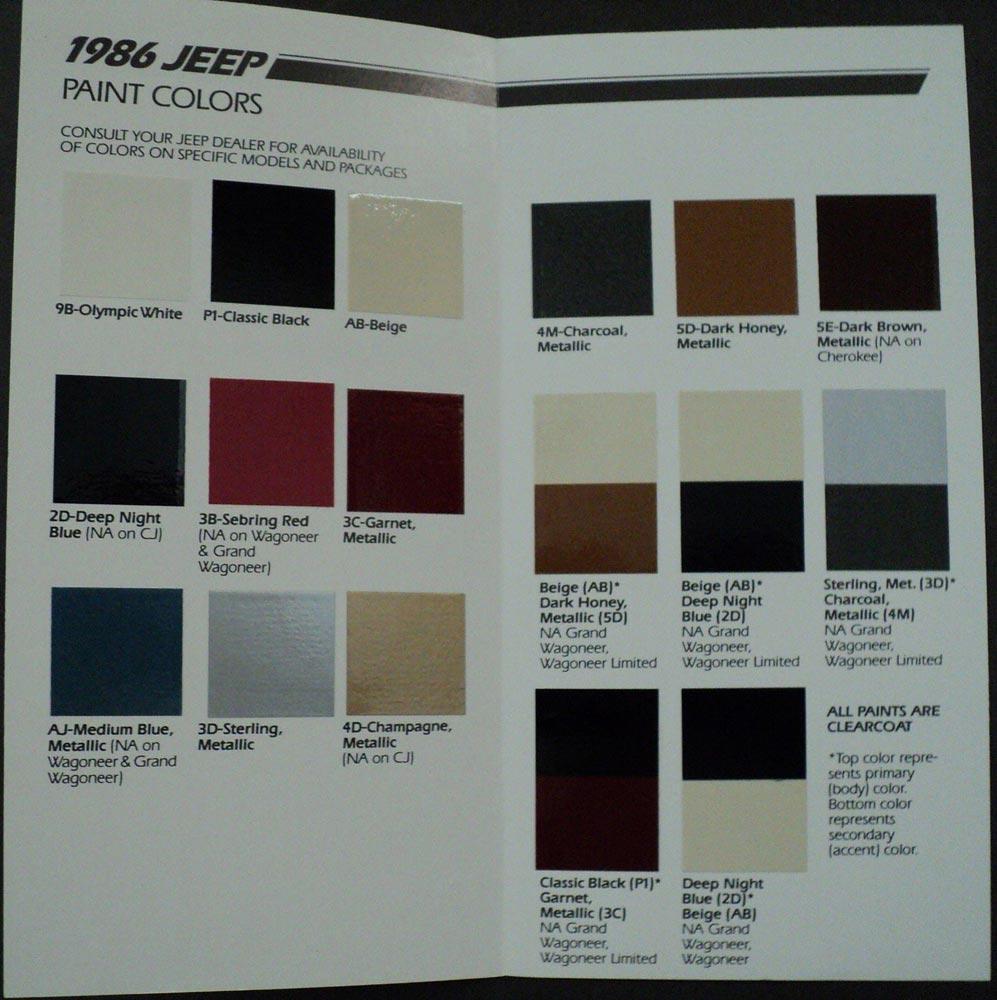 1986 Jeep Paint Color Chips Brochure