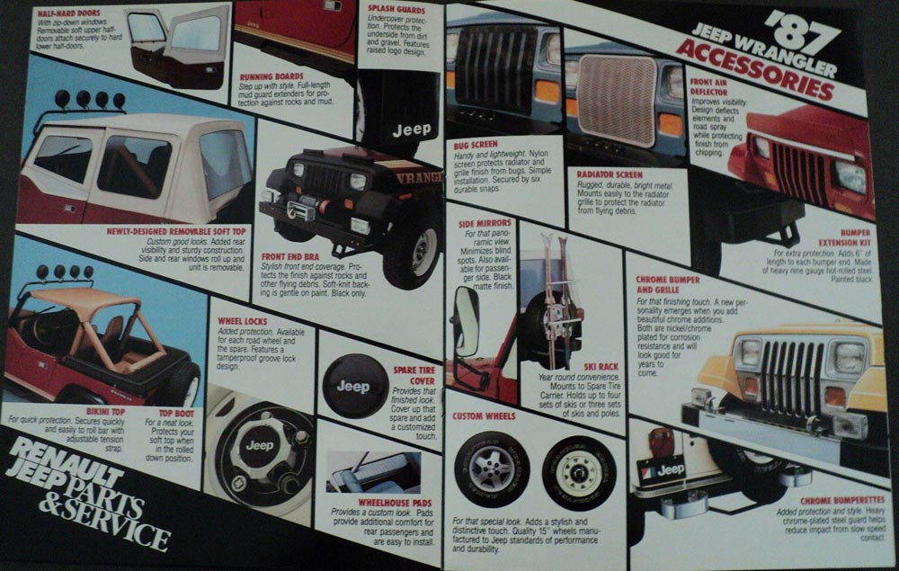 1987 Jeep Wrangler Accessories Brochure By Renault Jeep Parts Service Original
