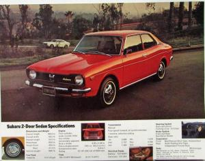 1973 Subaru 2 Door Sedan Sales Data Sheet Specs Features Color Original