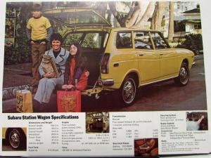 1973 Subaru Station Wagon Sales Data Sheet Specs Features Color Original
