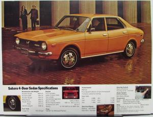 1973 Subaru 4 Door Sedan Sales Data Sheet Specs Features Color Original