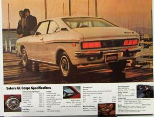 1973 Subaru GL Coupe Sales Data Sheet Specs Features Color Original