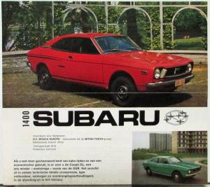 1973 1974 1975 1976 Subaru 1400 GL Coupe Sales Folder DUTCH Text Original