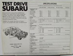 1973 1974 1975 1976 Subaru DL Sedan Wagon GL Coupe FWD Sales Data Sheet