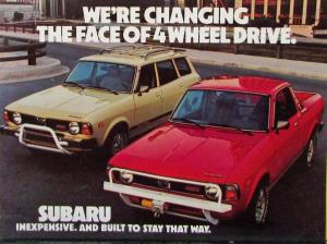 1978 Subaru 4WD Brat & Station Wagon Color Sales Postcard Original