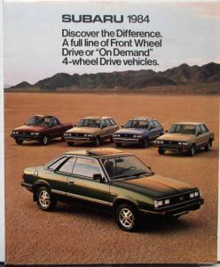 1984 Subaru Hardtop 4WD Sedan Hatchback Wagon Brat Color Sales Folder Original