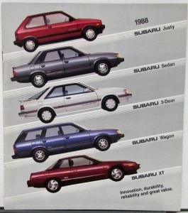 1988 Subaru Justy Sedan 3 Door Wagon XT Hatchback Color Sales Brochure Original