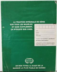 1991 1992 Subaru Legacy French Text Swiss Market Sales Brochure Original