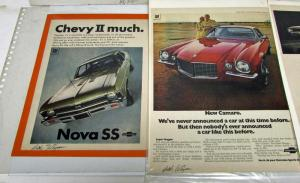 Chevrolet Camaro Nova SS Ads Signed By Dick Wingerson Ad Writer Vintage Set