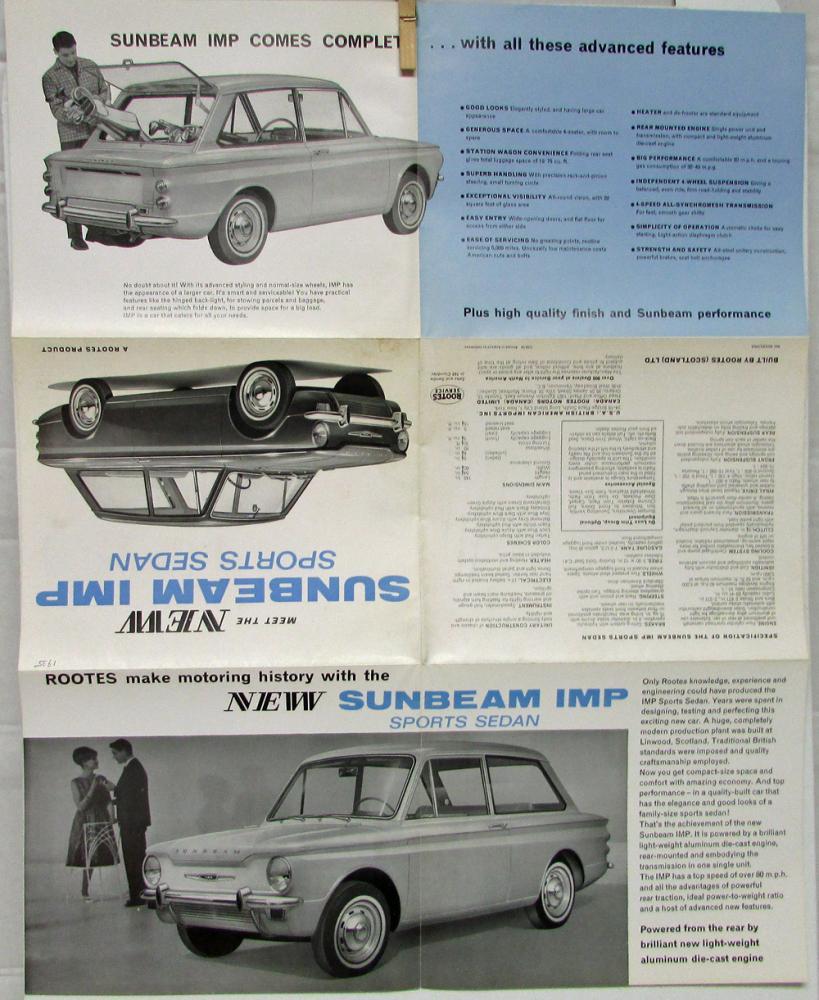 1964 ? Sunbeam IMP Sports Sedan From Scotland Sales Folder Original