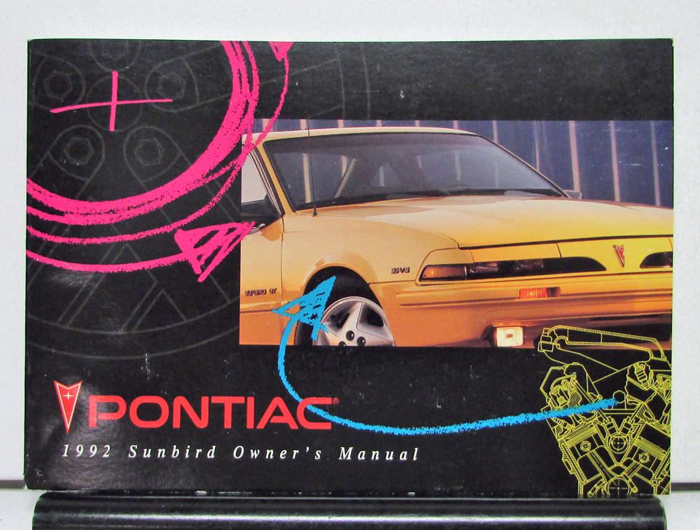 1992 pontiac sunbird operator owner manual original rh autopaper com 1992 pontiac bonneville owner's manual 1997 Pontiac Bonneville