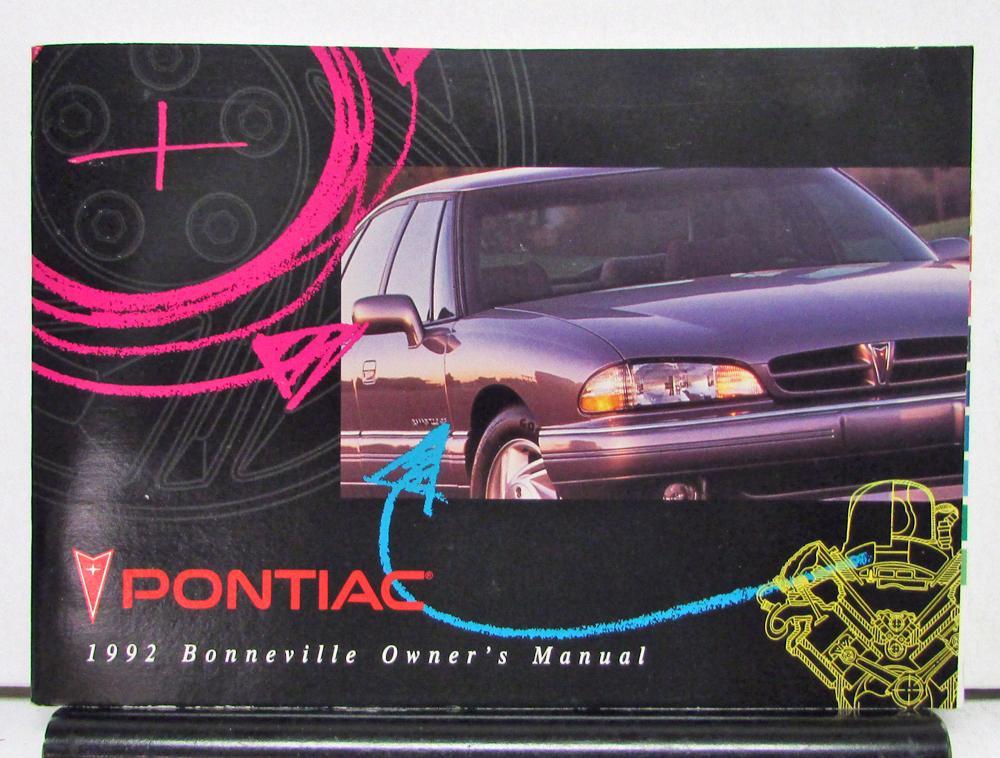 1992 pontiac bonneville operator owner manual original rh autopaper com 2000 Pontiac Bonneville 1998 Pontiac Bonneville