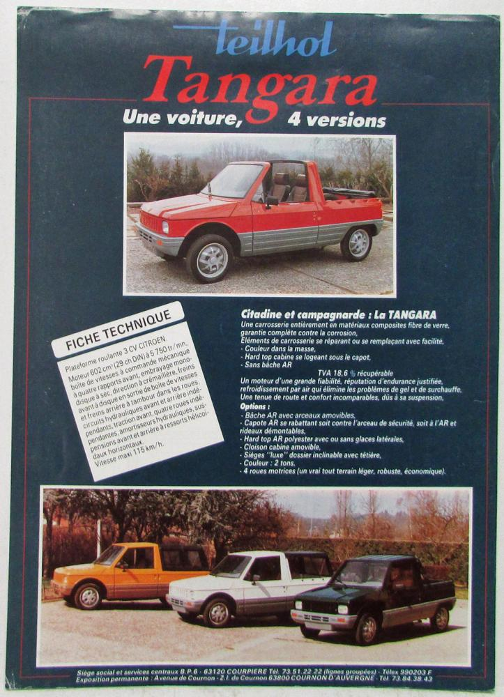 1987 1988 1989 1990 Teilhol Tangara 4x4 French Sales Data Sheet Color Original