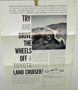 1964 Toyota Land Cruiser Ad Sheet To Mail Coupon For Franchise Information Orig