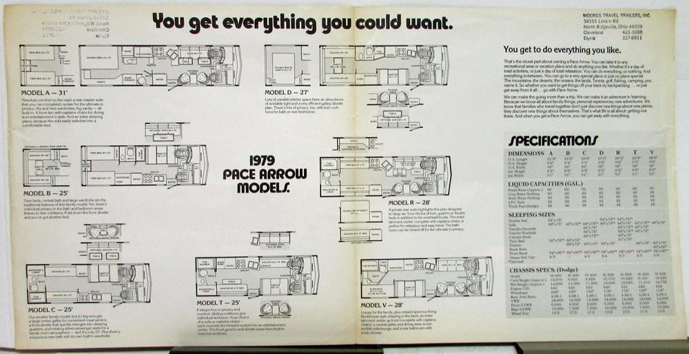 1979 Pace Arrow Motor Home Dodge Chassis Sales Folder Models