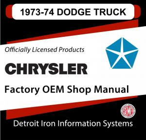 1973 Dodge Light Duty Truck Shop Manual & 1974 Supplement CD