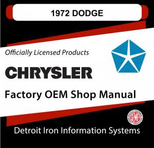 1972 Dodge Charger Challenger Rallye Coronet Dart Demon 340 Shop Manual CD