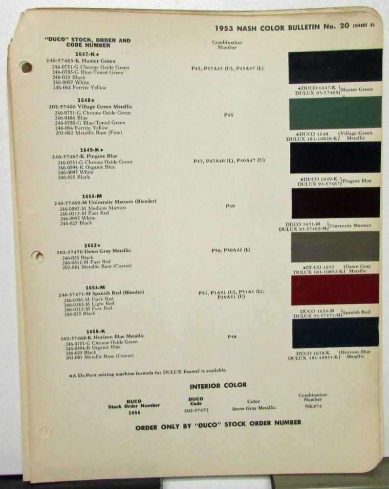 1953 Nash Color Paint Chips Leaflets Dupont Ambassador ...