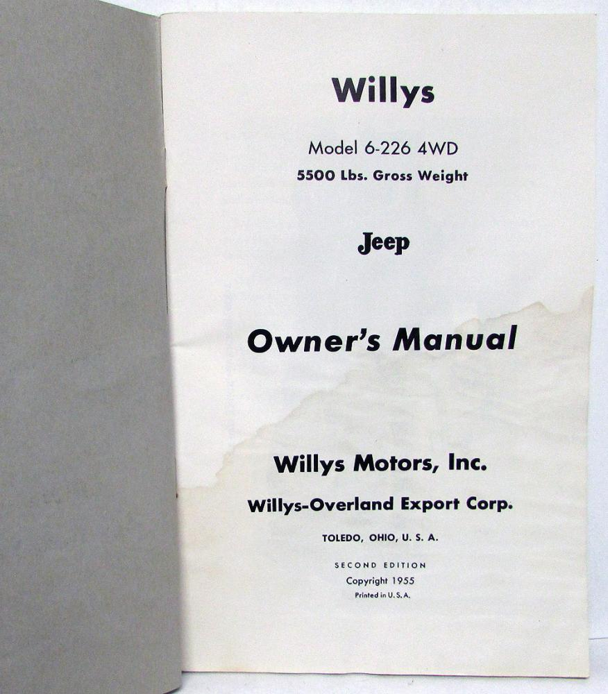 1956 1957 Willys Overland Jeep Model 6 226 4wd Owners Manual Original Dj 3a Wiring Diagram