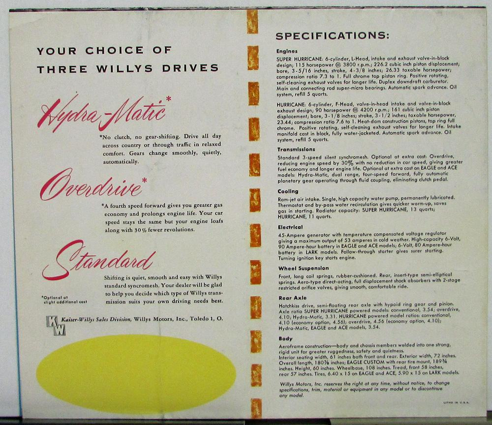 1954 Aero Willys Wiring Schematic Diagram Drawing Sketch Kaiser Jeep Eagle Ace Lark Sales Folder Xl Poster Display Color
