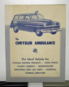 1951 Chrysler Ambulance Sales Brochure and Specifications