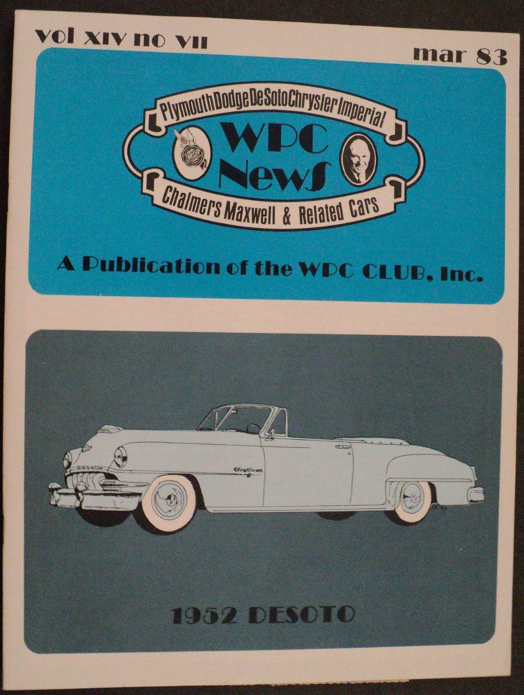 WPC News March 1983 Issue Features 1952 DeSoto Firedome 8 S-15 Deluxe No Shift