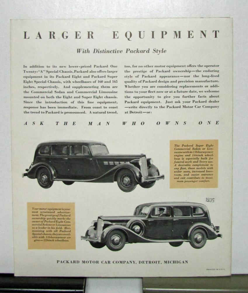 1935 Packard 120 A Limousine Hearse Ambulance Sales Brochure