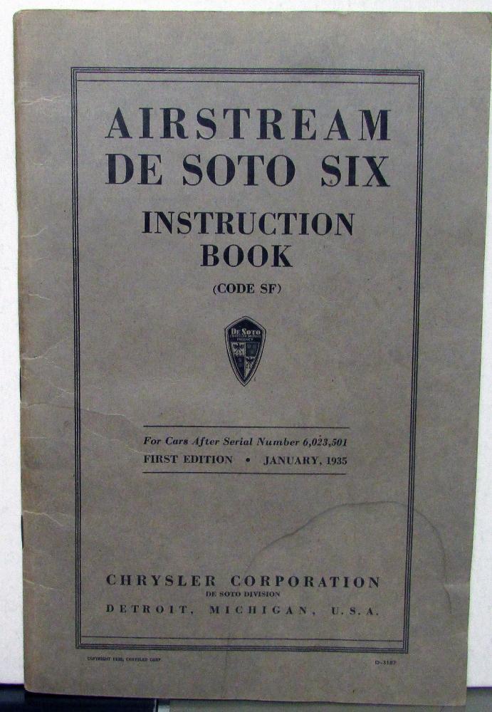 1935 desoto six airstream sf owners manual care operation rh autopaper com