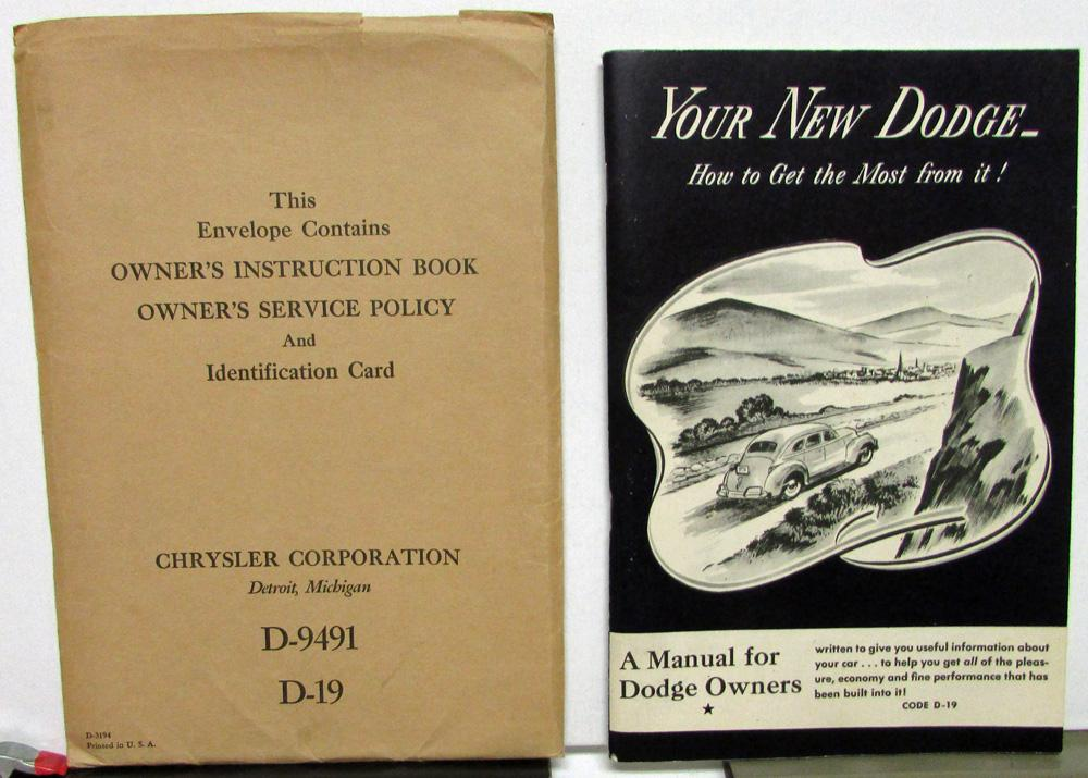 1941 dodge code d19 owners manual care operation instructions rh autopaper com dodge owners manuals online dodge owner's manual