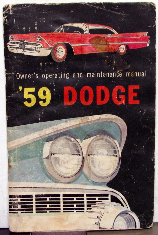 1959 dodge passenger car owners manual care operation instructions rh autopaper com 1963 Dodge 1963 Dodge