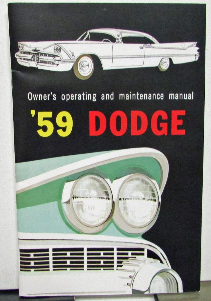 1959 dodge passenger car owners manual care operation new reproduction rh autopaper com 1963 Dodge 1959 Plymouth