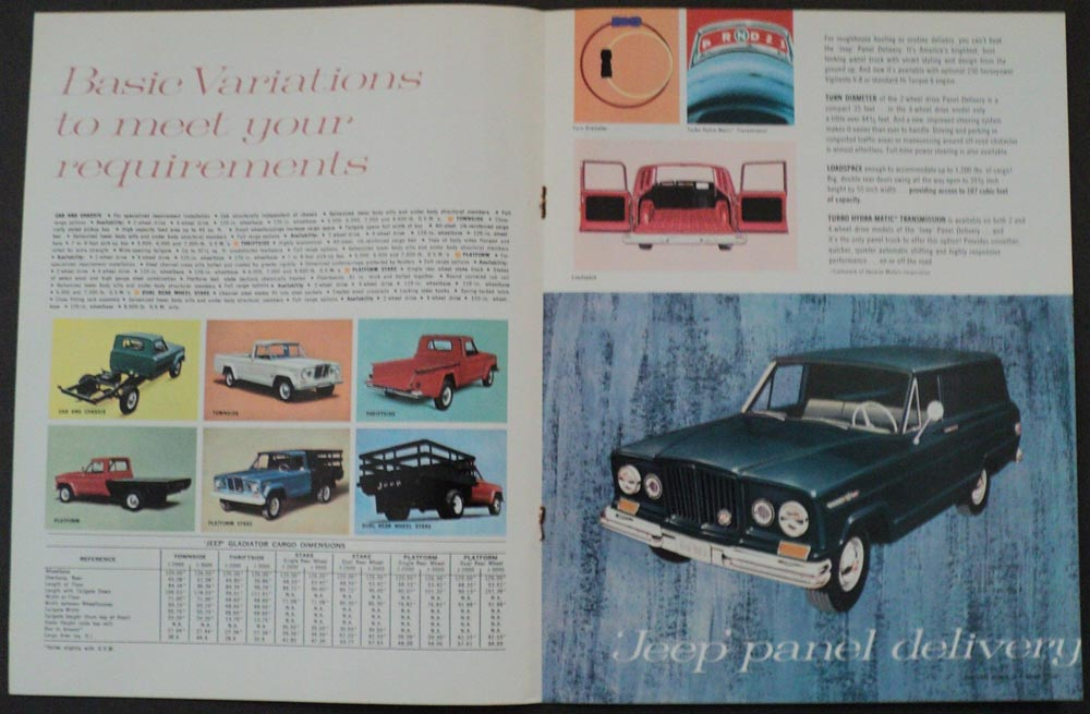 1965 Jeep 2WD 4 WD Full Line Sales Brochure Wagoneer Gladiator Universal Tuxedo