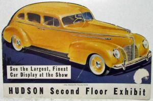 1939 Hudson Second Floor Auto Show Exhibit Die Cut Car Shape Sales Folder