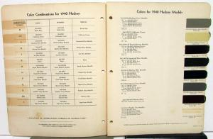 1940 Hudson Color Paint Chips Bulletin No 7 by DuPont Formulas Combinations