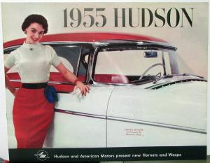 1955 Hudson Hornet Wasp Models American Motors Oversized Sales Brochure Original