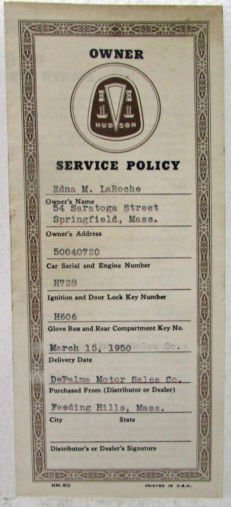 1950 Hudson Owner Service Policy