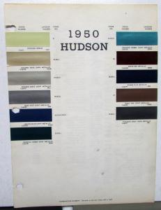 1950 Hudson Color Paint Chips Leaflet