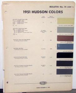 1951 Hudson Color Paint Chips Leaflets DuPont Original