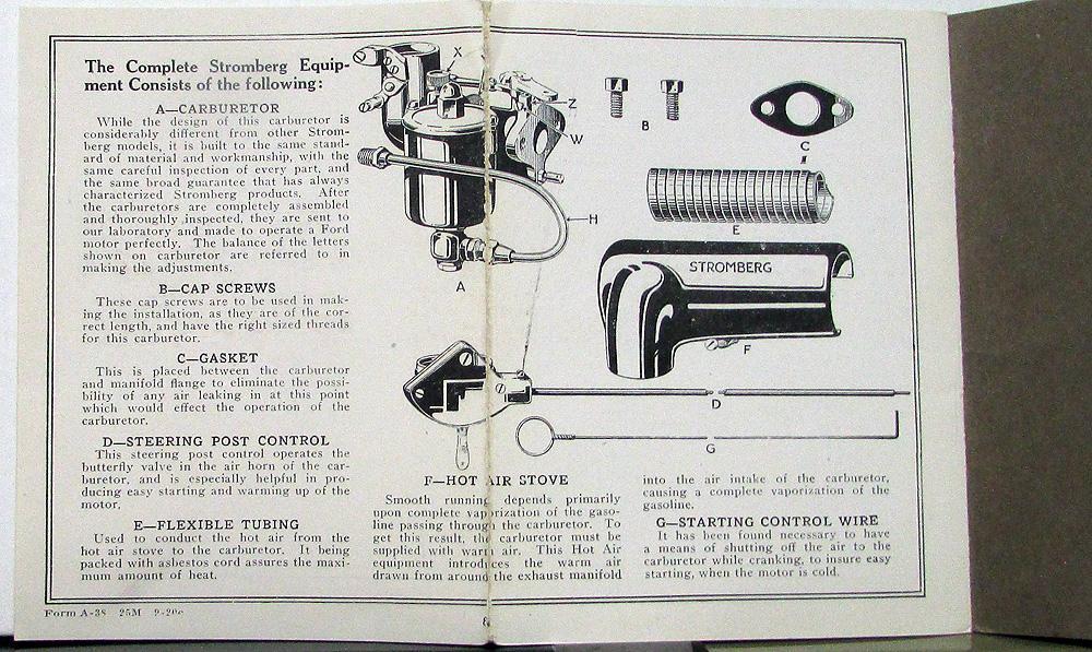 1921 Ford Stromberg Carburetor Installation & Adjustment Book Ed 3
