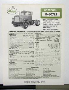 1965 1966 Mack Truck Model R 607LT Specification Sheet