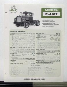 1966 Mack Truck Model R 410T Specification Sheet